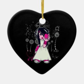 cute emo girl holding heart vector art christmas tree ornament