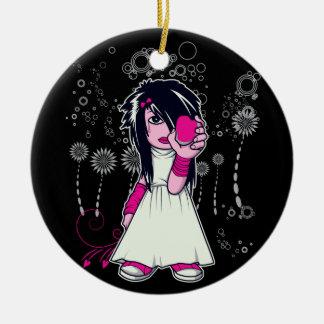 cute emo girl holding heart vector art christmas ornament