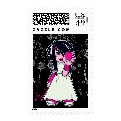 cute emo girl holding heart vector art postage stamp
