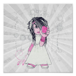 cute emo girl holding heart vector art posters