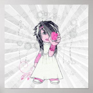 cute emo girl holding heart vector art poster
