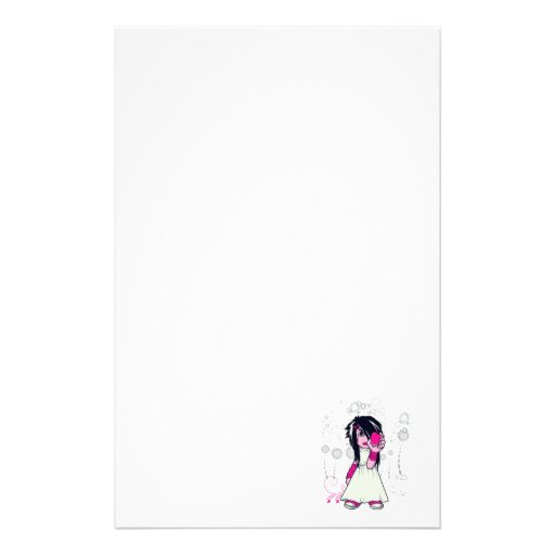 cute emo girl holding heart vector art stationery