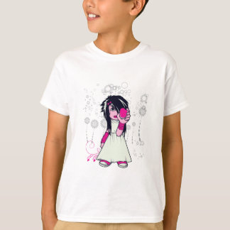 cute emo girl holding heart vector art T-Shirt