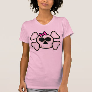 Cute Emo Girl Skull and Crossbones with Bow Tees