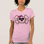 Cute Emo Girl Skull and Crossbones with Bow T Shirts