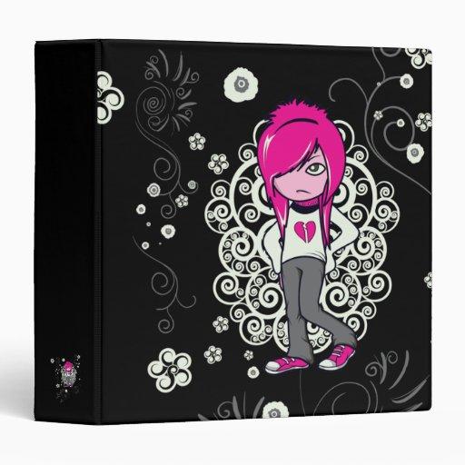 cute emo girl swirls vector illustration vinyl binders