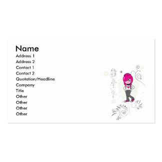 cute emo girl swirls vector illustration business card