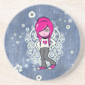 cute emo girl swirls vector illustration drink coaster