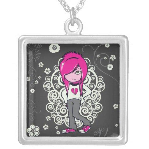 cute emo girl swirls vector illustration necklace