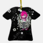 cute emo girl swirls vector illustration christmas ornament