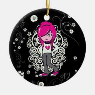 cute emo girl swirls vector illustration ornament