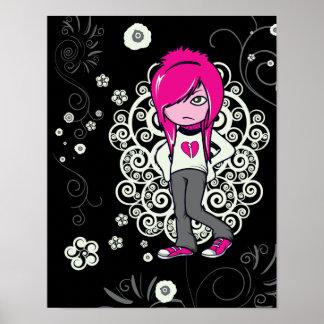cute emo girl swirls vector illustration poster