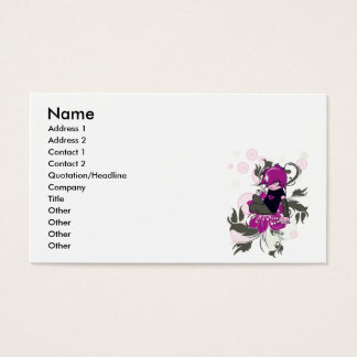 cute emo kid sitting on a flower business card
