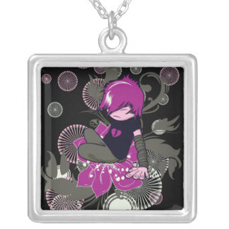 cute emo kid sitting on a flower square pendant necklace