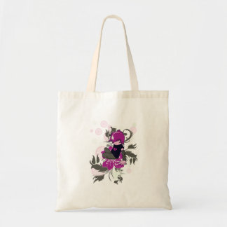 cute emo kid sitting on a flower tote bag