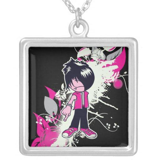 cute emo kid square pendant necklace