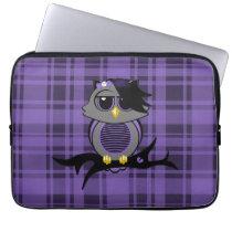 "Cute Emo Owl and Plaid 13"" Electronics Bag"
