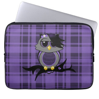 "Cute Emo Owl and Plaid 13"" Electronics Bag Computer Sleeve"