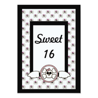 Cute Emo Skull and Crossbones Sweet Sixteen Card