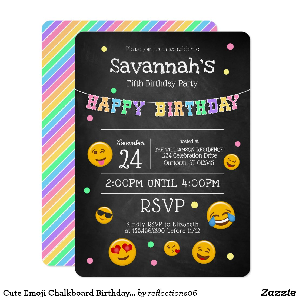 Cute Emoji Chalkboard Birthday Party Invitation
