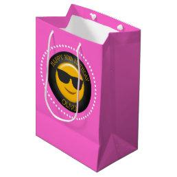 Cute Emoji Girl's Birthday Party Personalized Medium Gift Bag