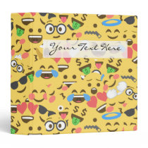 cute emoji love hears kiss smile laugh pattern binder