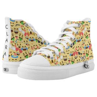 cute emoji love hears kiss smile laugh pattern High-Top sneakers