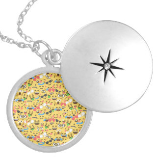 cute emoji love hears kiss smile laugh pattern locket necklace