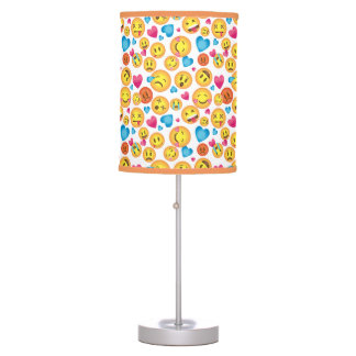 Cute Emoji Print on White Accent Lamp