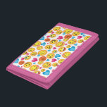 """Cute Emoji Print on White Wallet with Pink Trim<br><div class=""""desc"""">&#169;Fiona Stokes Gilbert All Rights Reserved</div>"""