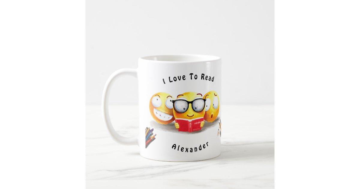 Cute Emoji Smiling Love Reading Book Coffee Mug Zazzle Com