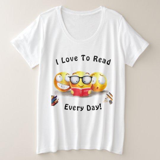 Cute Emoji Smiling Love Reading Book Plus Size T Shirt