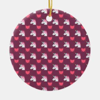 Cute Emoji Unicorn and Hearts Pattern Ceramic Ornament