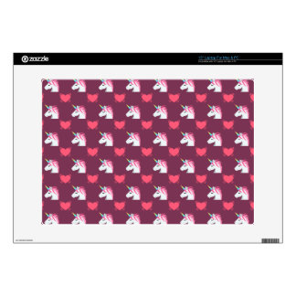 """Cute Emoji Unicorn and Hearts Pattern Decal For 15"""" Laptop"""