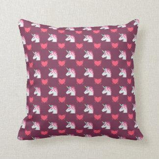 Cute Emoji Unicorn and Hearts Pattern Throw Pillow