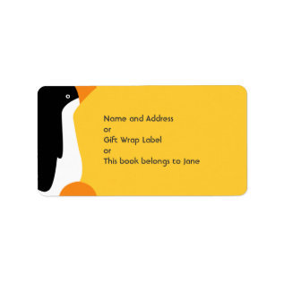 Cute Emperor Penguin Cartoon Name Address Label at Zazzle