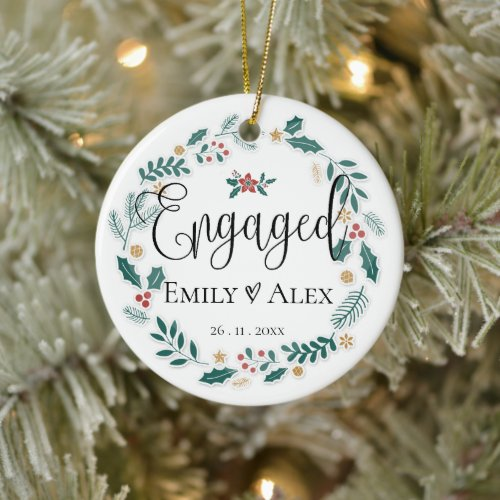 Cute   Engaged  Our First Christmas Ceramic Ornament