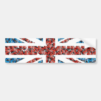 Cute England flag Cartoon Ladybugs Insects funny Bumper Sticker
