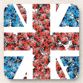 Cute England flag Cartoon Ladybugs Insects funny Drink Coaster