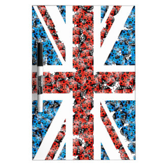 Cute England flag Cartoon Ladybugs Insects funny Dry-Erase Board