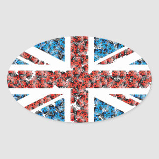 Cute England flag Cartoon Ladybugs Insects funny Oval Sticker
