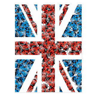 Cute England flag Cartoon Ladybugs Insects funny Postcard