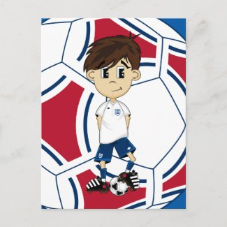 Cute England Soccer Boy Postcard postcard