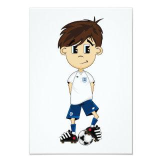 "Cute England Soccer Boy RSVP Card 3.5"" X 5"" Invitation Card"