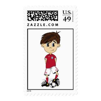 Cute England Soccer Boy Stamp