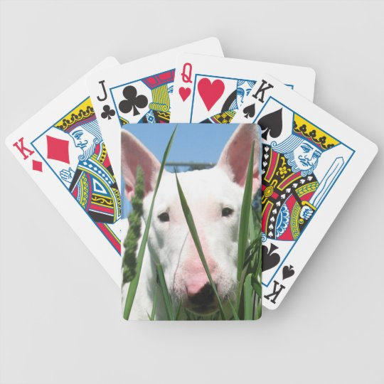 Cute English Bull Terrier Bicycle Playing Cards