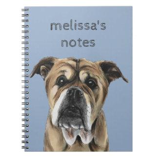 Cute English Bulldog Drawing Spiral Notebook