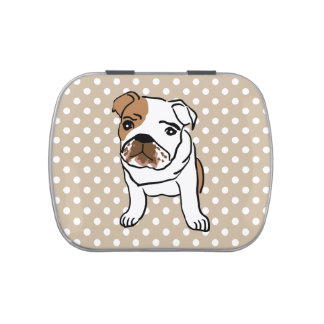 Cute English Bulldog Illustration Candy Tin