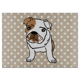 Cute English Bulldog Illustration Cutting Board