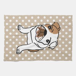 Cute English Bulldog Illustration Hand Towel